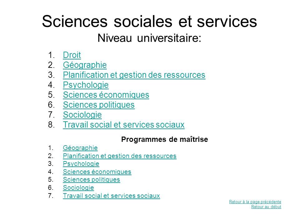 Sciences sociales et services Niveau universitaire: 1.DroitDroit 2.GéographieGéographie 3.Planification et gestion des ressourcesPlanification et gest