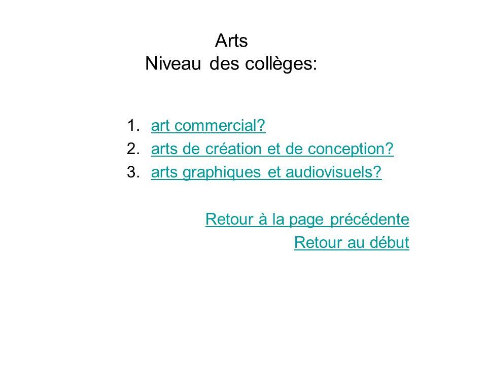 Arts Niveau des collèges: 1.art commercial?art commercial? 2.arts de création et de conception?arts de création et de conception? 3.arts graphiques et