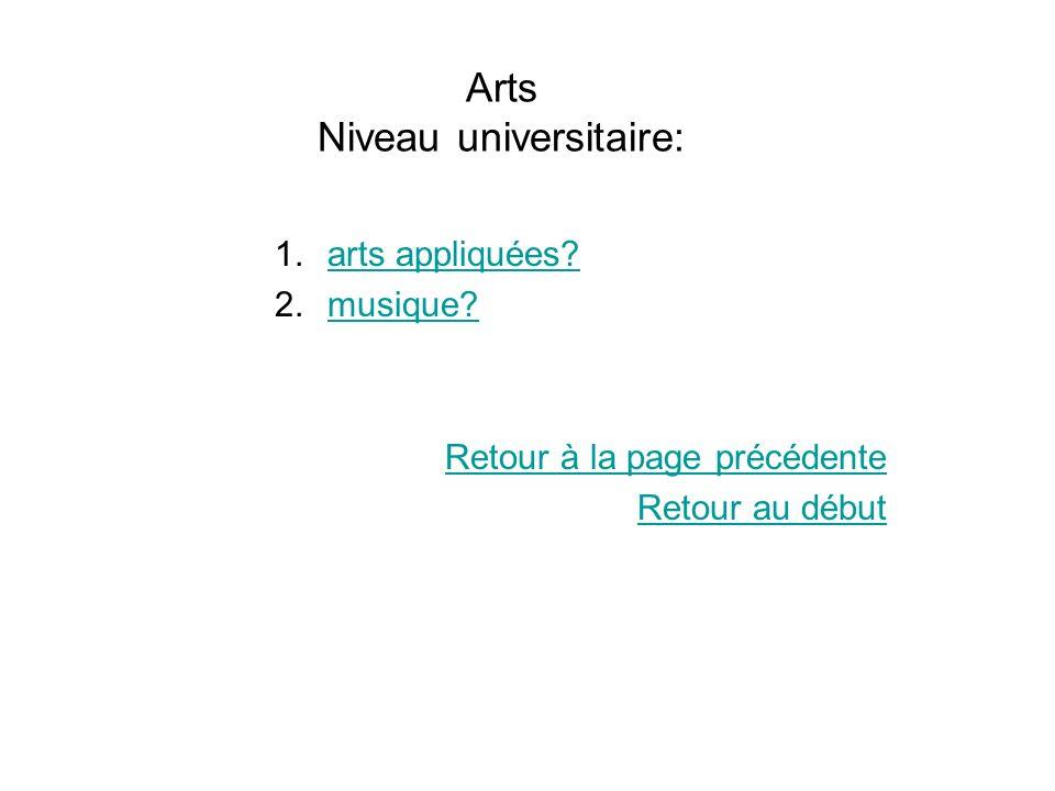 Arts Niveau universitaire: 1.arts appliquées?arts appliquées? 2.musique?musique? Retour à la page précédente Retour au début