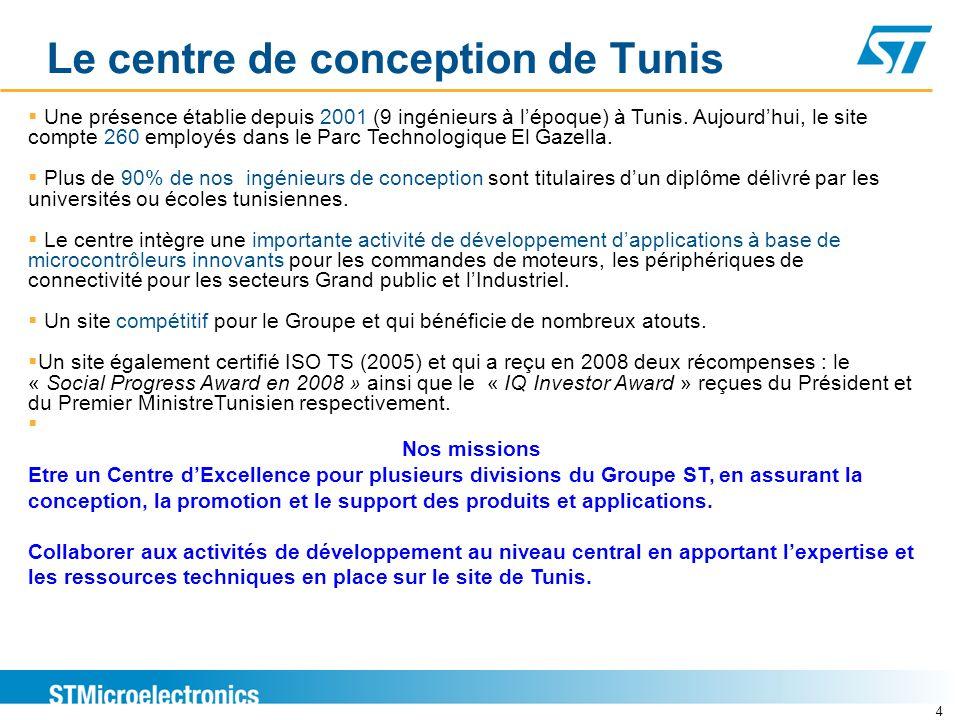 Le centre de conception de Tunis 4 Une présence établie depuis 2001 (9 ingénieurs à lépoque) à Tunis. Aujourdhui, le site compte 260 employés dans le