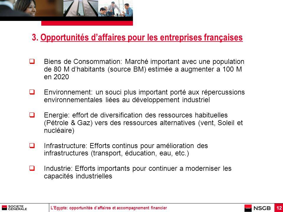 L'Egypte: opportunités daffaires et accompagnement financier 12 3. Opportunités daffaires pour les entreprises françaises Biens de Consommation: March
