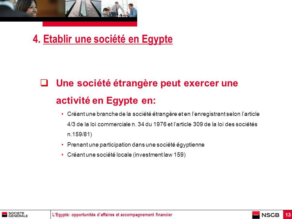 L'Egypte: opportunités daffaires et accompagnement financier 13 4. Etablir une société en Egypte Une société étrangère peut exercer une activité en Eg