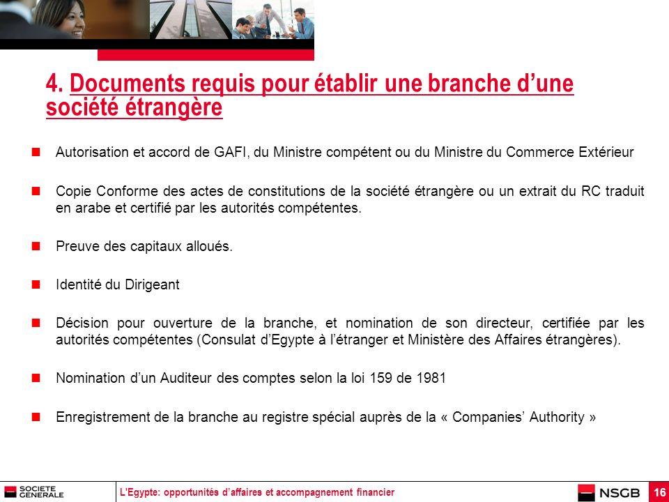 L'Egypte: opportunités daffaires et accompagnement financier 16 4. Documents requis pour établir une branche dune société étrangère Autorisation et ac