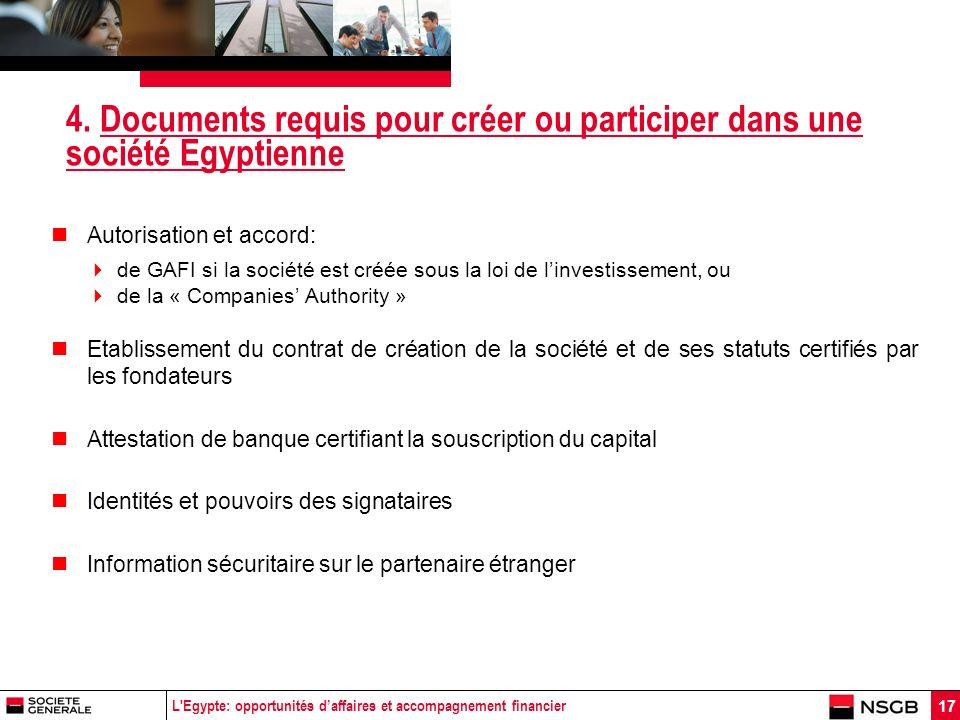 L'Egypte: opportunités daffaires et accompagnement financier 17 4. Documents requis pour créer ou participer dans une société Egyptienne Autorisation