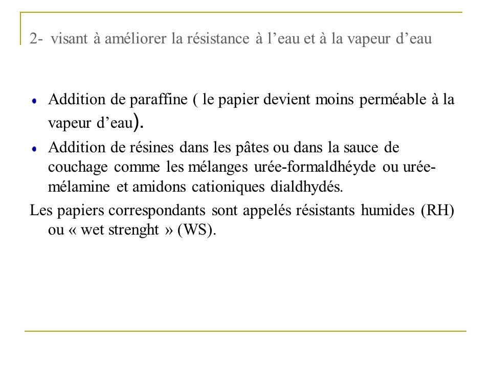 2- visant à améliorer la résistance à leau et à la vapeur deau Addition de paraffine ( le papier devient moins perméable à la vapeur deau ). Addition