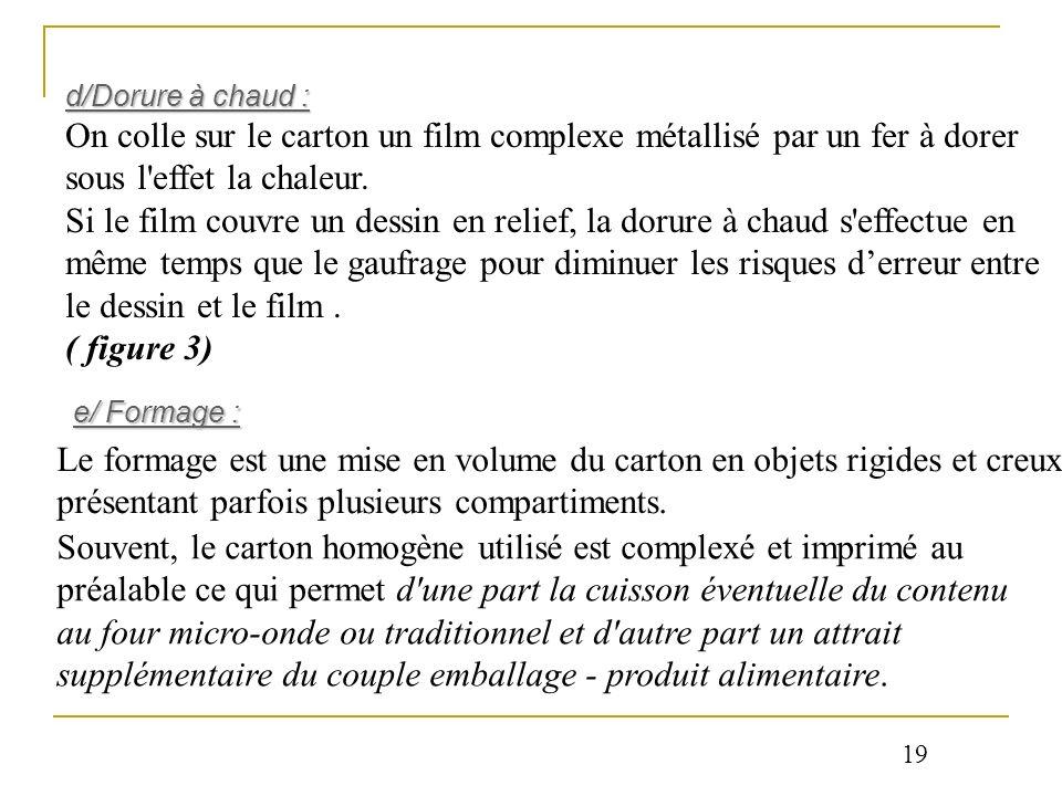 d/Dorure à chaud : On colle sur le carton un film complexe métallisé par un fer à dorer sous l'effet la chaleur. Si le film couvre un dessin en relief