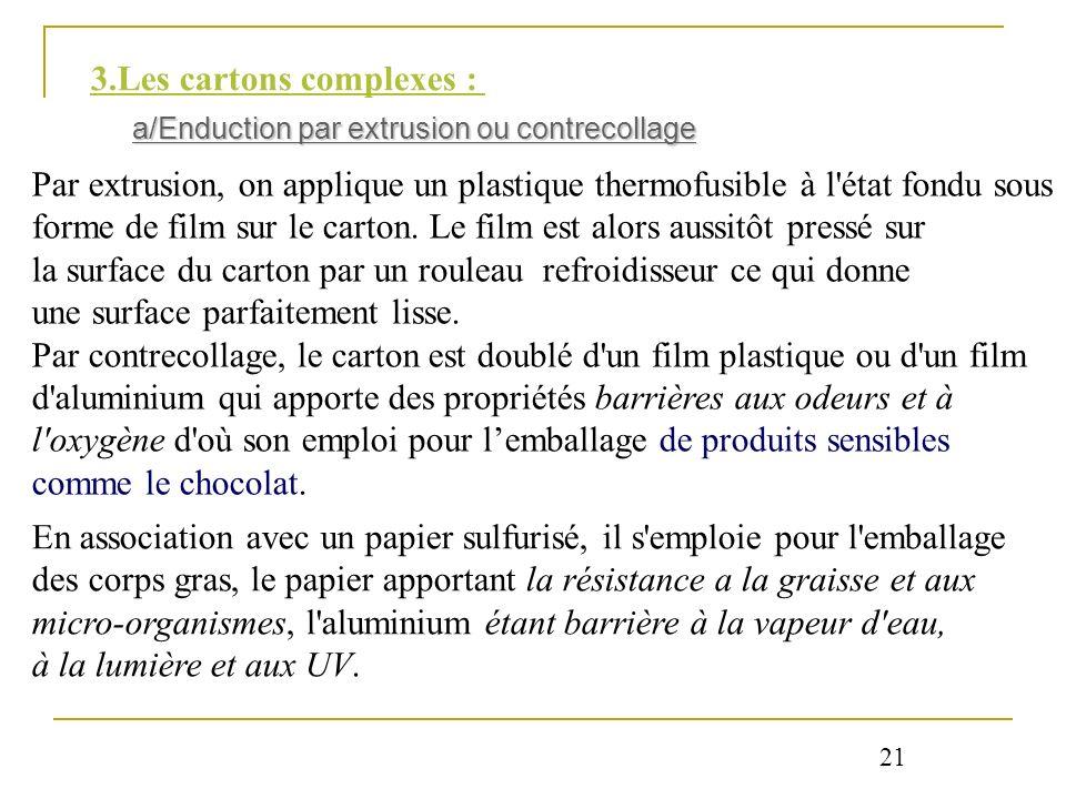 3.Les cartons complexes : a/Enduction par extrusion ou contrecollage Par extrusion, on applique un plastique thermofusible à l'état fondu sous forme d