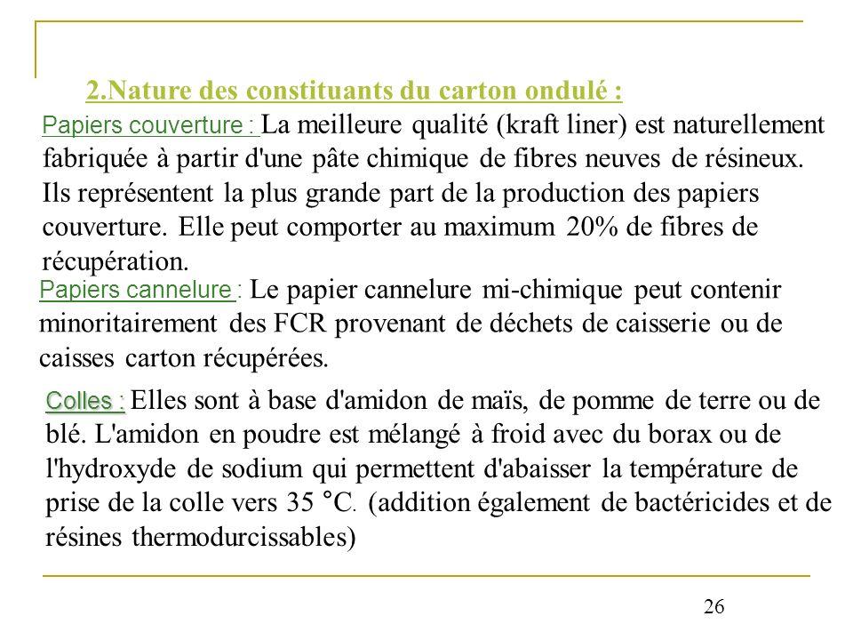 2.Nature des constituants du carton ondulé : Papiers couverture : La meilleure qualité (kraft liner) est naturellement fabriquée à partir d'une pâte c