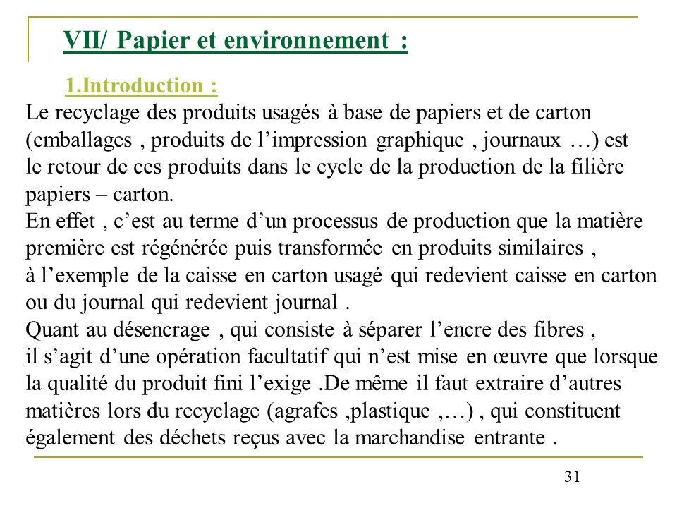 VII/ Papier et environnement : 1.Introduction : Le recyclage des produits usagés à base de papiers et de carton (emballages, produits de limpression g