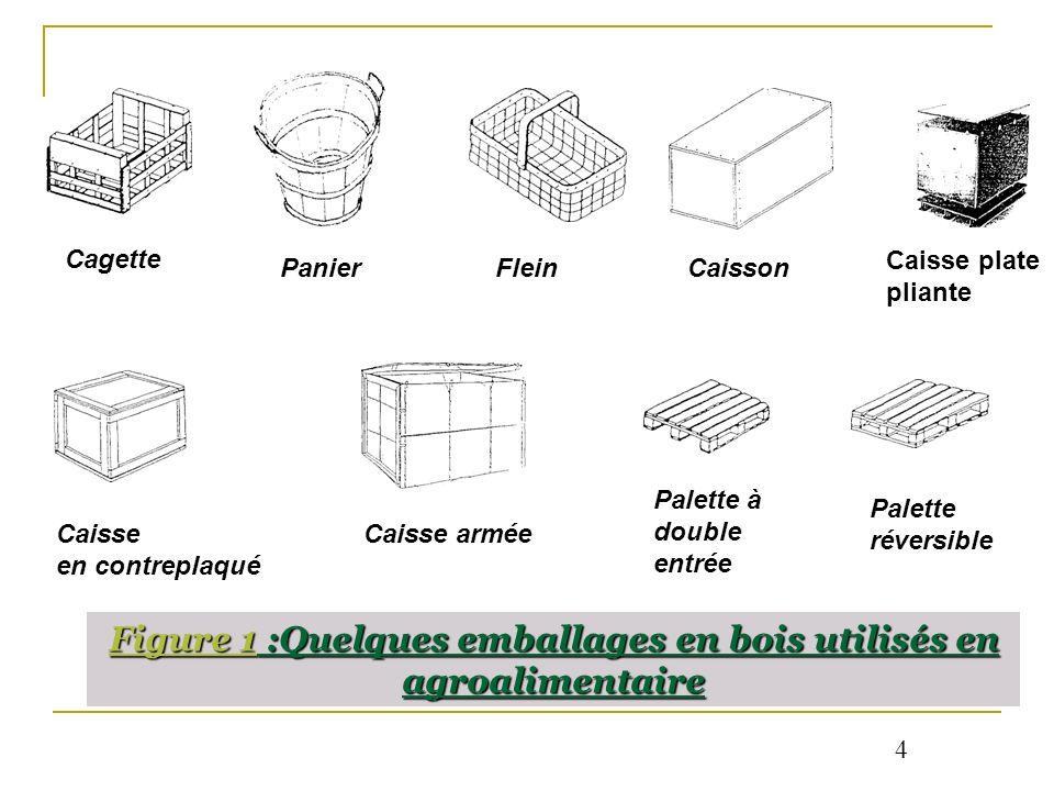 Figure 1 :Quelques emballages en bois utilisés en agroalimentaire Cagette Panier FleinCaisson Caisse en contreplaqué Caisse plate pliante Caisse armée