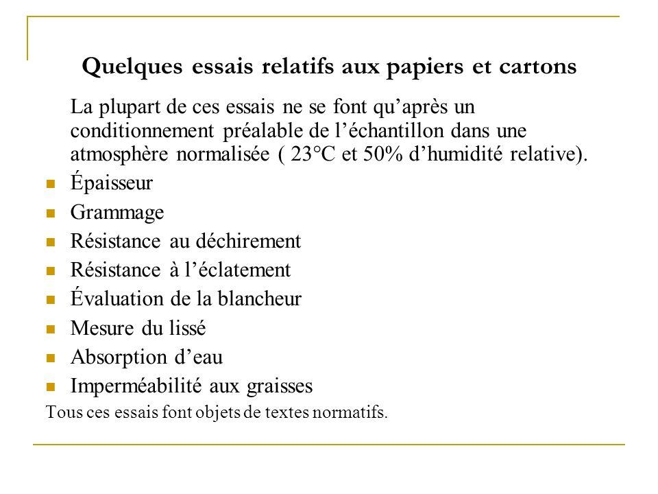 Quelques essais relatifs aux papiers et cartons La plupart de ces essais ne se font quaprès un conditionnement préalable de léchantillon dans une atmo