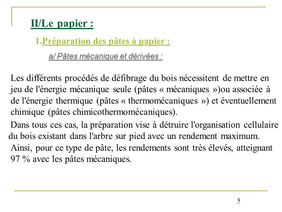 II/Le papier : 1.Préparation des pâtes à papier : a/ Pâtes mécanique et dérivées : Les différents procédés de défibrage du bois nécessitent de mettre
