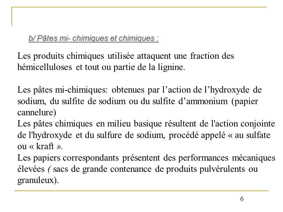 Les produits chimiques utilisée attaquent une fraction des hémicelluloses et tout ou partie de la lignine. Les pâtes mi-chimiques: obtenues par lactio