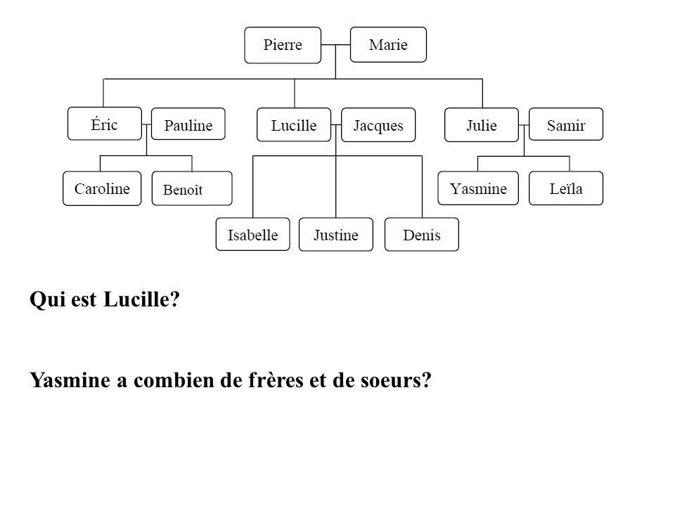 Qui est Lucille? Yasmine a combien de frères et de soeurs?