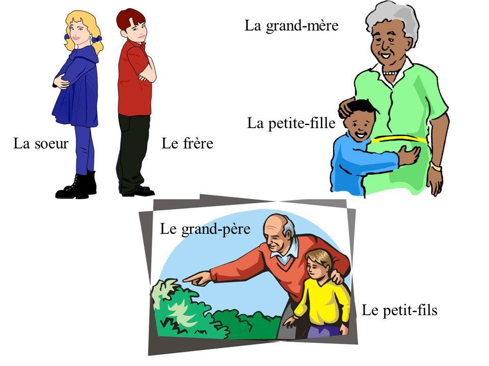 Le grand-père La grand-mère La soeurLe frère La petite-fille Le petit-fils