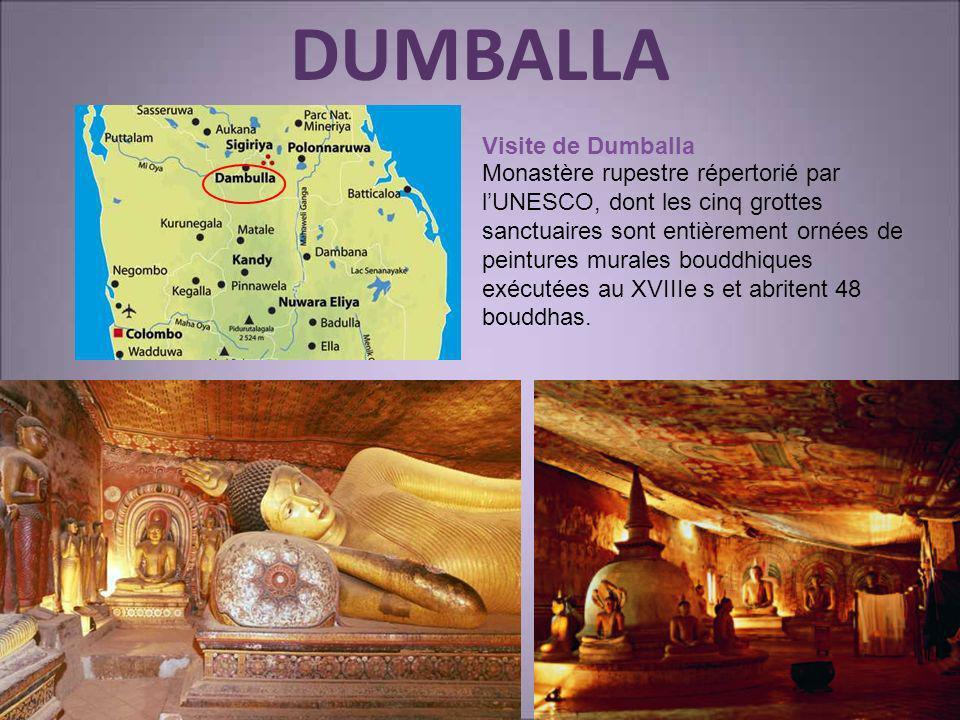 DUMBALLA Visite de Dumballa Monastère rupestre répertorié par lUNESCO, dont les cinq grottes sanctuaires sont entièrement ornées de peintures murales
