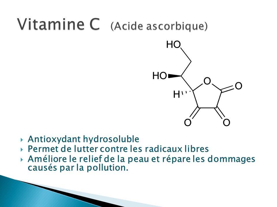 Antioxydant hydrosoluble Permet de lutter contre les radicaux libres Améliore le relief de la peau et répare les dommages causés par la pollution.