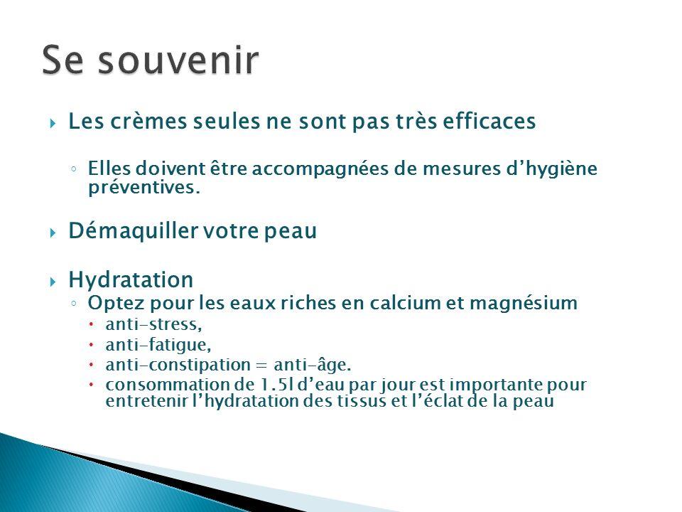 Les crèmes seules ne sont pas très efficaces Elles doivent être accompagnées de mesures dhygiène préventives. Démaquiller votre peau Hydratation Optez