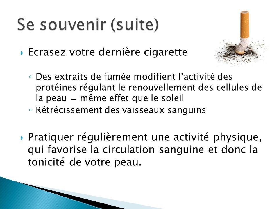Ecrasez votre dernière cigarette Des extraits de fumée modifient lactivité des protéines régulant le renouvellement des cellules de la peau = même eff