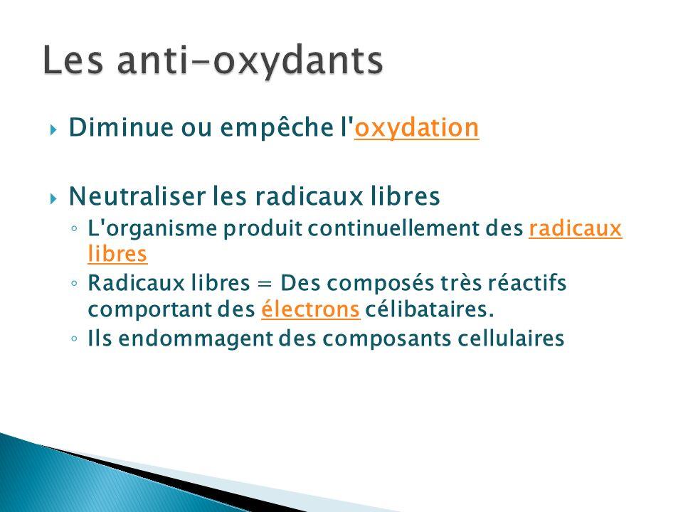 Diminue ou empêche l'oxydationoxydation Neutraliser les radicaux libres L'organisme produit continuellement des radicaux libresradicaux libres Radicau