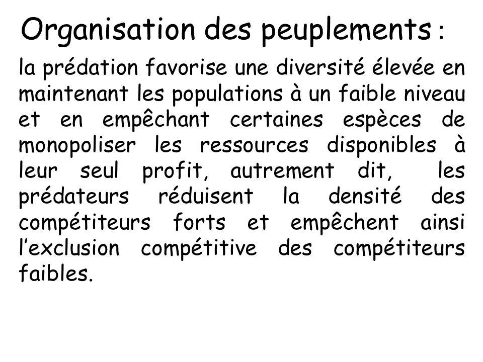 Organisation des peuplements : la prédation favorise une diversité élevée en maintenant les populations à un faible niveau et en empêchant certaines e
