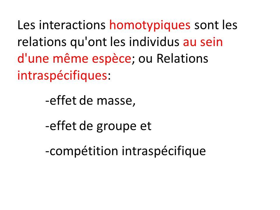 Les interactions homotypiques sont les relations qu ont les individus au sein d une même espèce; ou Relations intraspécifiques: -effet de masse, -effet de groupe et -compétition intraspécifique