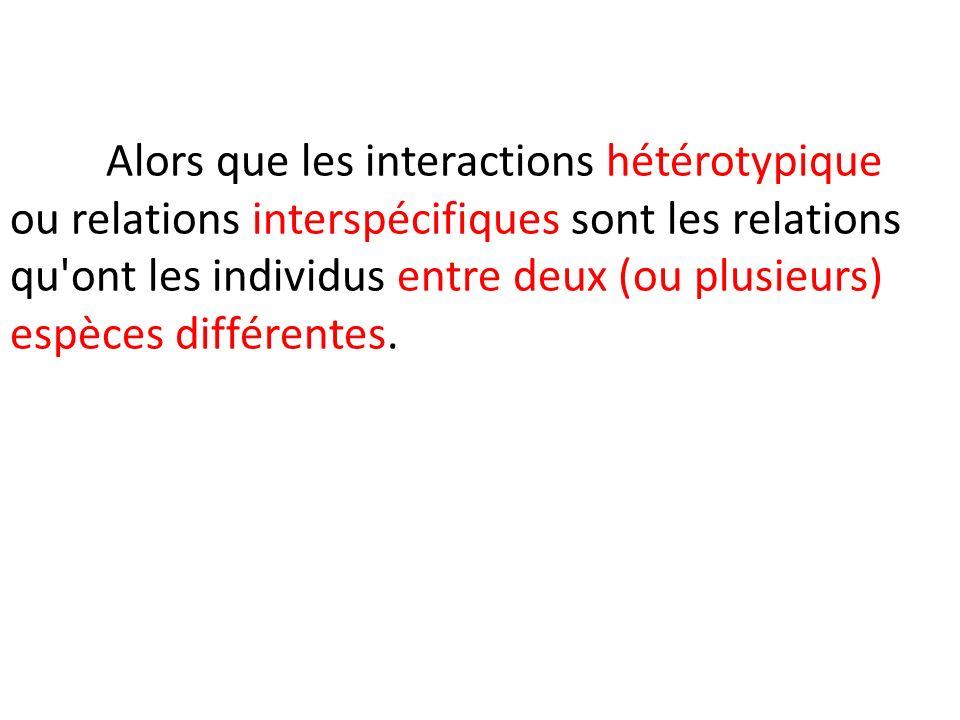 Alors que les interactions hétérotypique ou relations interspécifiques sont les relations qu ont les individus entre deux (ou plusieurs) espèces différentes.