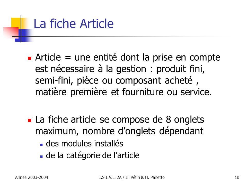 Année 2003-2004E.S.I.A.L. 2A / JF Pétin & H. Panetto10 La fiche Article Article = une entité dont la prise en compte est nécessaire à la gestion : pro