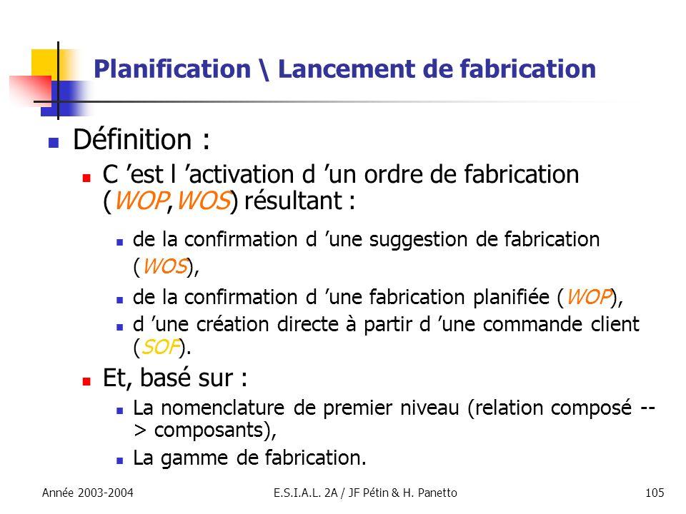 Année 2003-2004E.S.I.A.L. 2A / JF Pétin & H. Panetto105 Planification \ Lancement de fabrication Définition : C est l activation d un ordre de fabrica