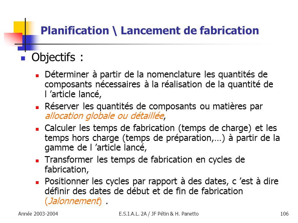 Année 2003-2004E.S.I.A.L. 2A / JF Pétin & H. Panetto106 Planification \ Lancement de fabrication Objectifs : Déterminer à partir de la nomenclature le