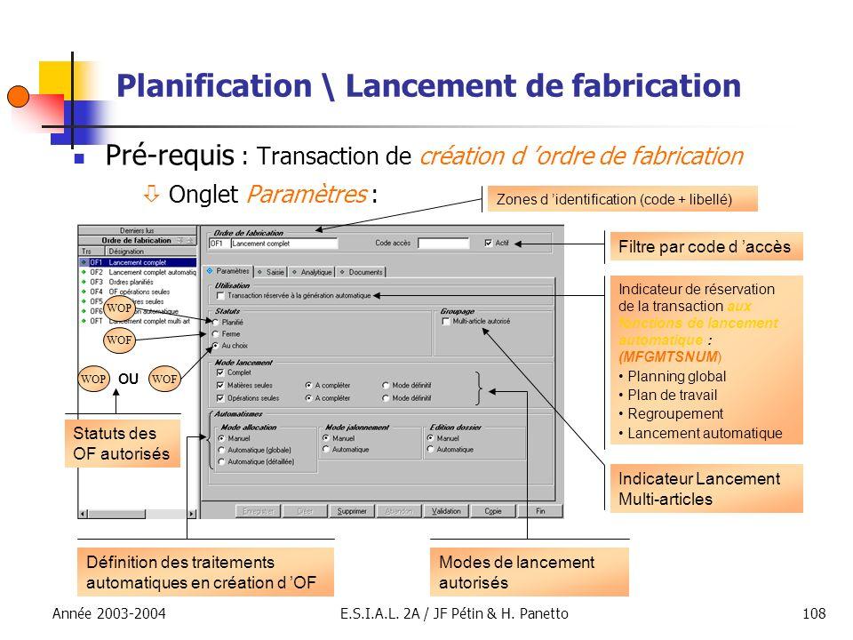 Année 2003-2004E.S.I.A.L. 2A / JF Pétin & H. Panetto108 Planification \ Lancement de fabrication Pré-requis : Transaction de création d ordre de fabri