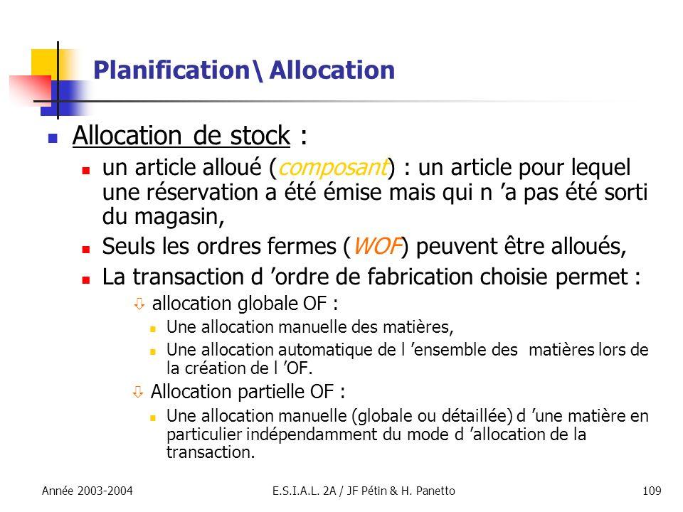 Année 2003-2004E.S.I.A.L. 2A / JF Pétin & H. Panetto109 Planification\ Allocation Allocation de stock : un article alloué (composant) : un article pou
