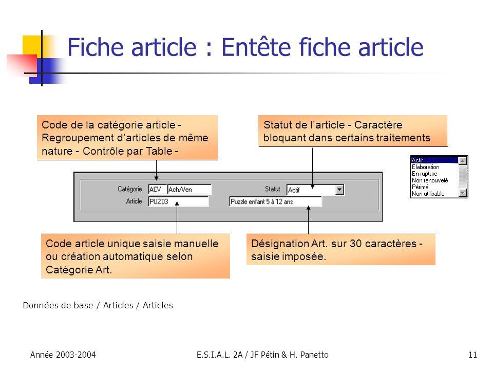 Année 2003-2004E.S.I.A.L. 2A / JF Pétin & H. Panetto11 Fiche article : Entête fiche article Code de la catégorie article - Regroupement darticles de m