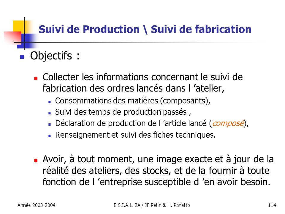 Année 2003-2004E.S.I.A.L. 2A / JF Pétin & H. Panetto114 Suivi de Production \ Suivi de fabrication Objectifs : Collecter les informations concernant l