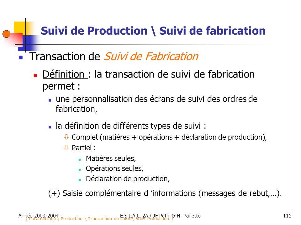 Année 2003-2004E.S.I.A.L. 2A / JF Pétin & H. Panetto115 Suivi de Production \ Suivi de fabrication Transaction de Suivi de Fabrication Définition : la
