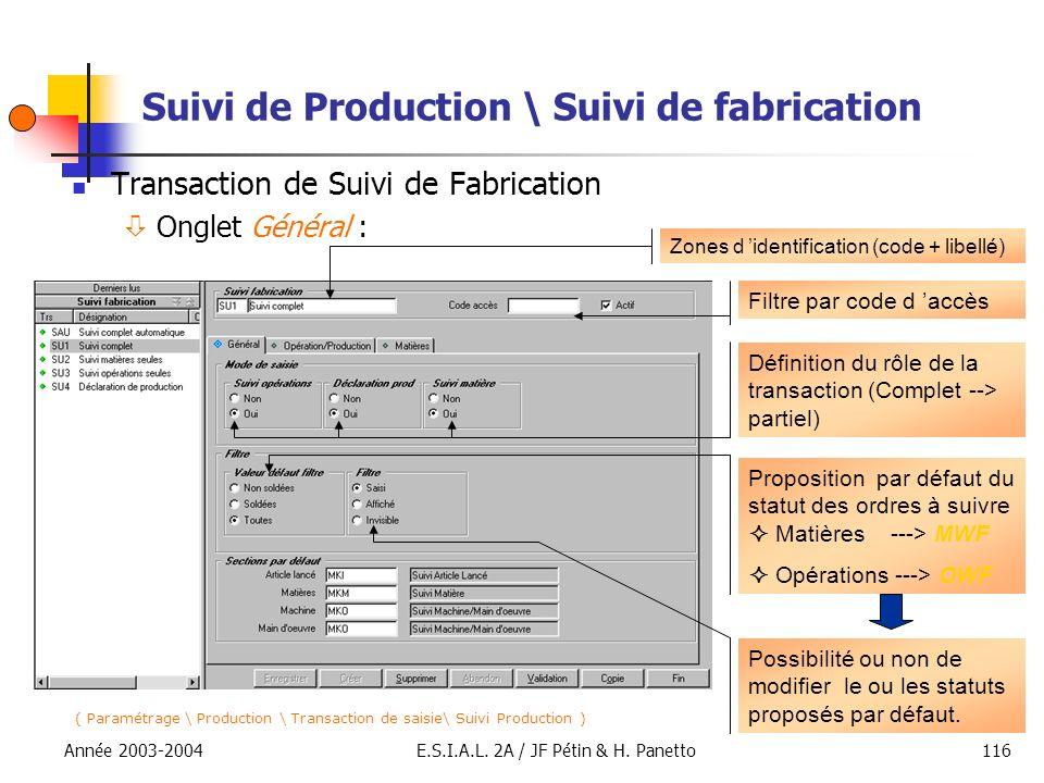 Année 2003-2004E.S.I.A.L. 2A / JF Pétin & H. Panetto116 Suivi de Production \ Suivi de fabrication Transaction de Suivi de Fabrication Onglet Général