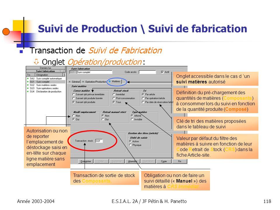 Année 2003-2004E.S.I.A.L. 2A / JF Pétin & H. Panetto118 Suivi de Production \ Suivi de fabrication Transaction de Suivi de Fabrication Onglet Opératio
