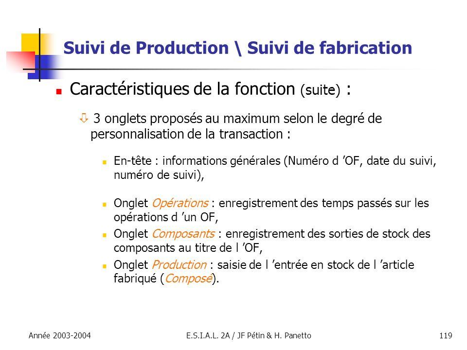 Année 2003-2004E.S.I.A.L. 2A / JF Pétin & H. Panetto119 Suivi de Production \ Suivi de fabrication Caractéristiques de la fonction (suite) : 3 onglets