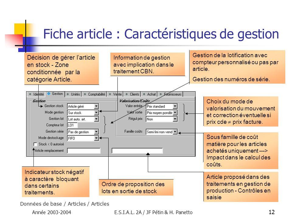 Année 2003-2004E.S.I.A.L. 2A / JF Pétin & H. Panetto 12 Fiche article : Caractéristiques de gestion Décision de gérer larticle en stock - Zone conditi