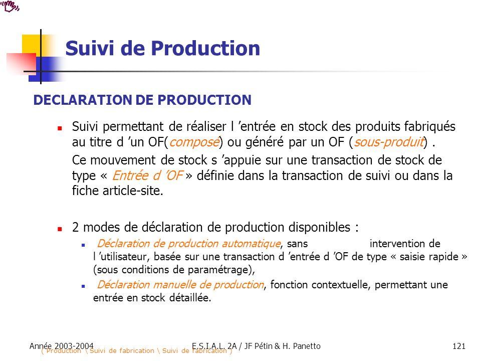 Année 2003-2004E.S.I.A.L. 2A / JF Pétin & H. Panetto121 Suivi de Production DECLARATION DE PRODUCTION Suivi permettant de réaliser l entrée en stock d