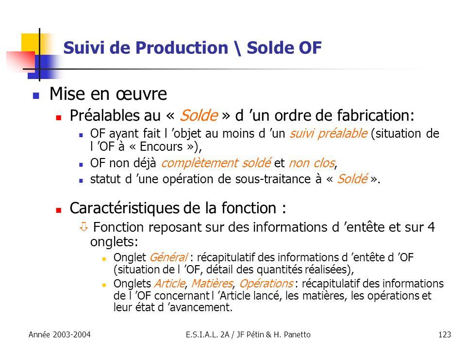 Année 2003-2004E.S.I.A.L. 2A / JF Pétin & H. Panetto123 Suivi de Production \ Solde OF Mise en œuvre Préalables au « Solde » d un ordre de fabrication