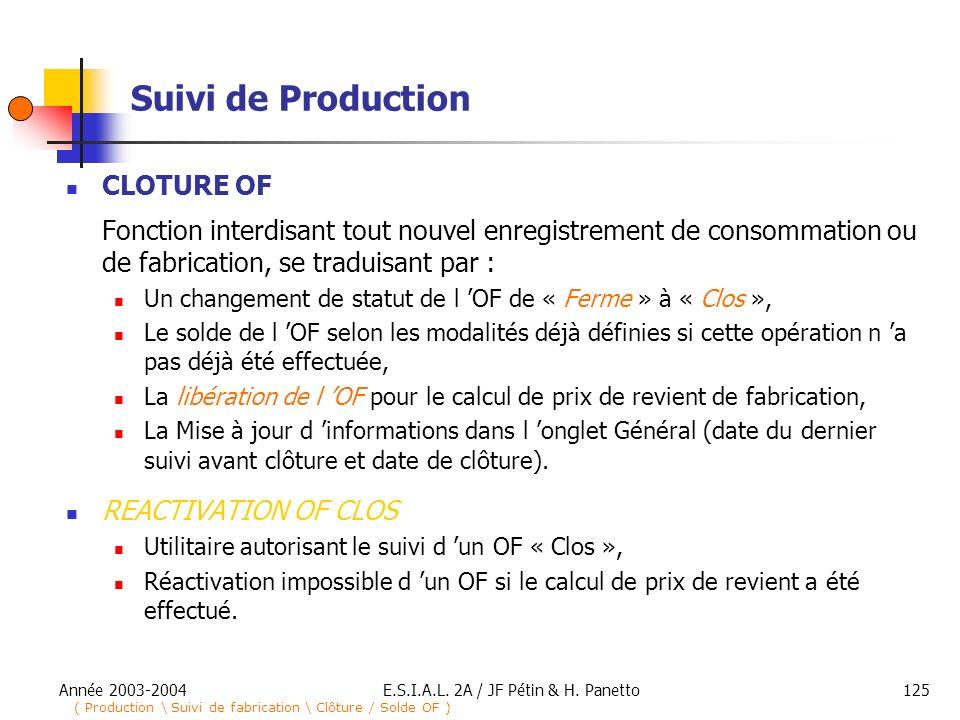 Année 2003-2004E.S.I.A.L. 2A / JF Pétin & H. Panetto125 Suivi de Production CLOTURE OF Fonction interdisant tout nouvel enregistrement de consommation