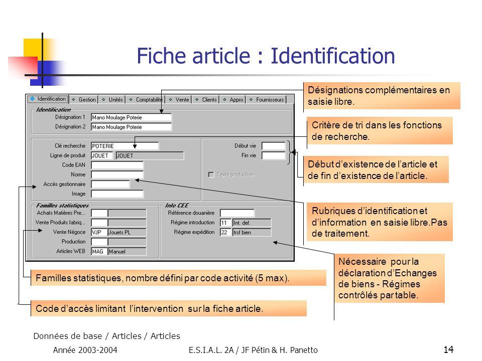 Année 2003-2004E.S.I.A.L. 2A / JF Pétin & H. Panetto 14 Fiche article : Identification Désignations complémentaires en saisie libre. Critère de tri da