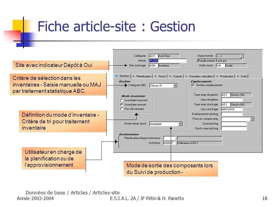 Année 2003-2004E.S.I.A.L. 2A / JF Pétin & H. Panetto18 Fiche article-site : Gestion Données de base / Articles / Articles-site Site avec indicateur Dé