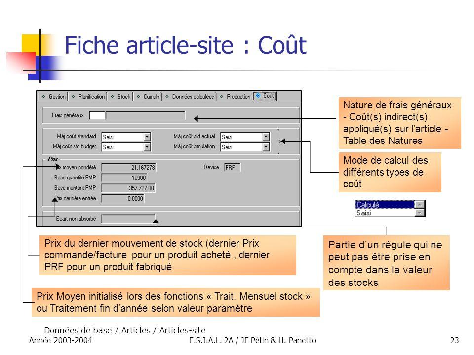 Année 2003-2004E.S.I.A.L. 2A / JF Pétin & H. Panetto23 Fiche article-site : Coût Données de base / Articles / Articles-site Prix Moyen initialisé lors