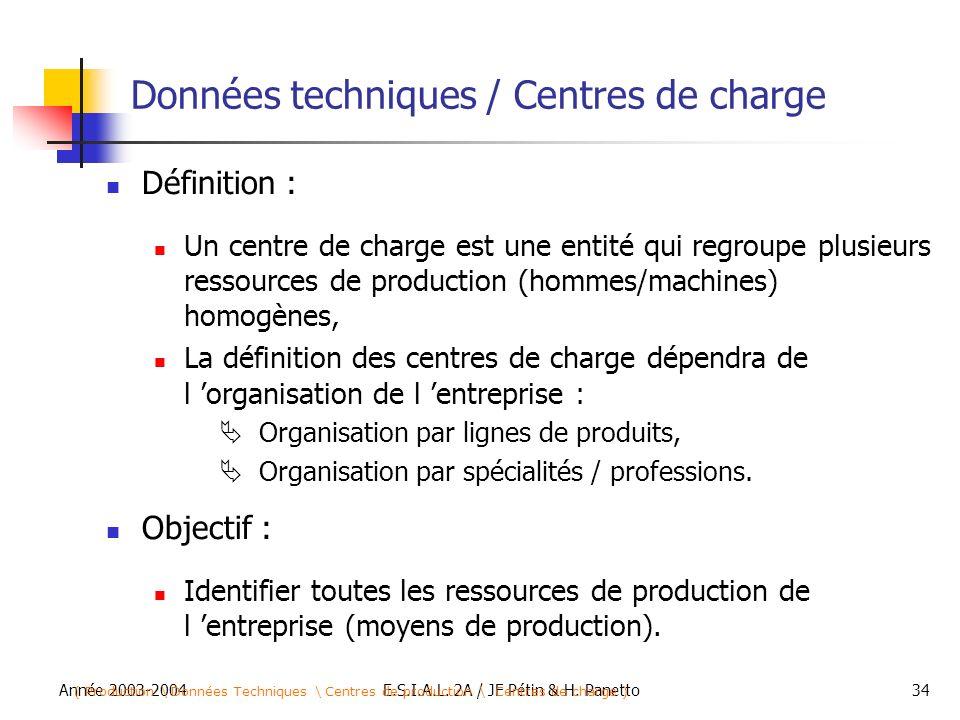 Année 2003-2004E.S.I.A.L. 2A / JF Pétin & H. Panetto34 Données techniques / Centres de charge Définition : Un centre de charge est une entité qui regr