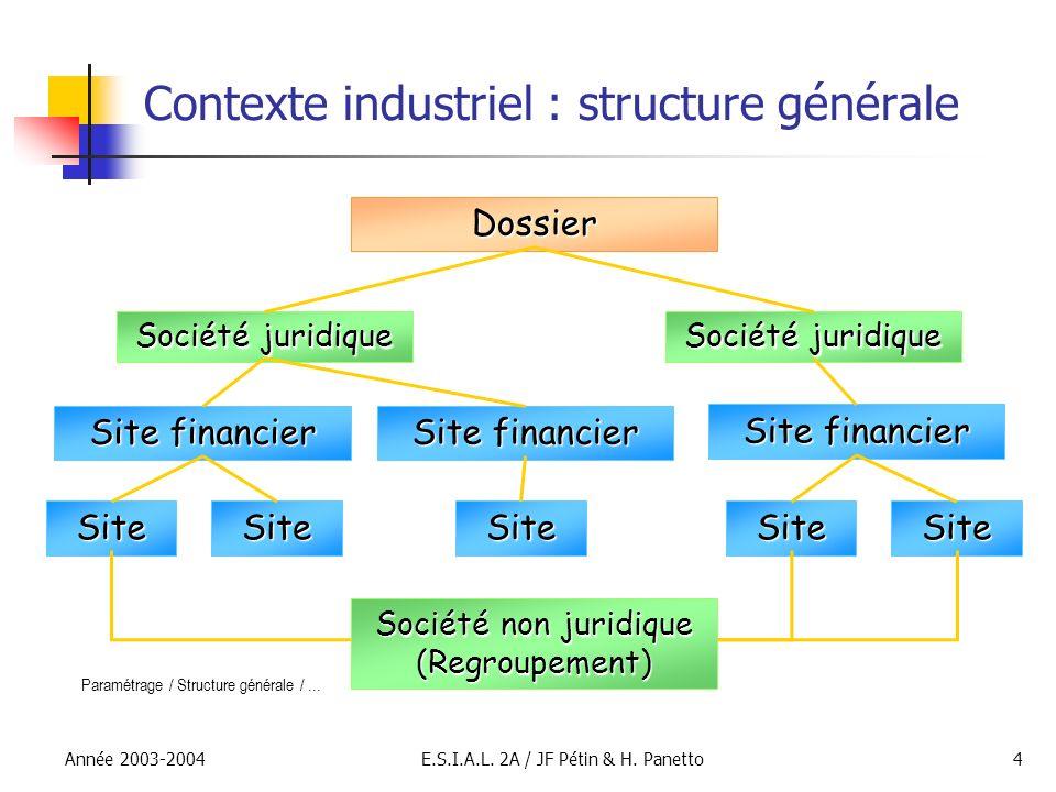 Année 2003-2004E.S.I.A.L. 2A / JF Pétin & H. Panetto4 Contexte industriel : structure générale Dossier Société juridique Site financier SiteSiteSiteSi