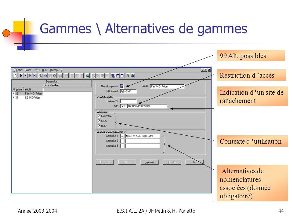 Année 2003-2004E.S.I.A.L. 2A / JF Pétin & H. Panetto44 Gammes \ Alternatives de gammes 99 Alt. possibles Restriction d accès Indication d un site de r