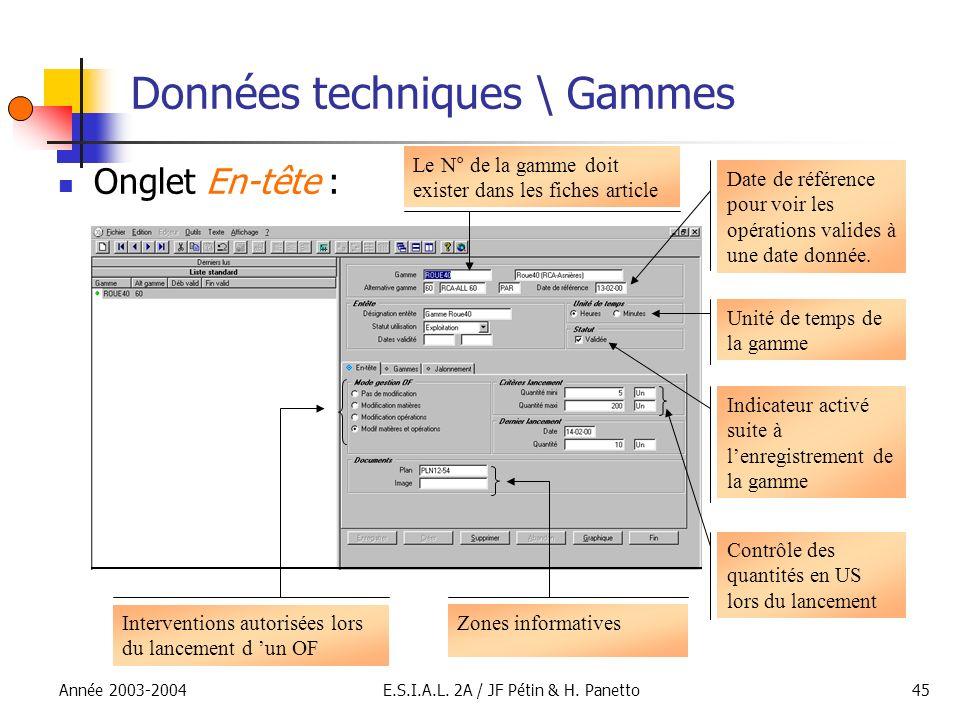 Année 2003-2004E.S.I.A.L. 2A / JF Pétin & H. Panetto45 Données techniques \ Gammes Onglet En-tête : Le N° de la gamme doit exister dans les fiches art