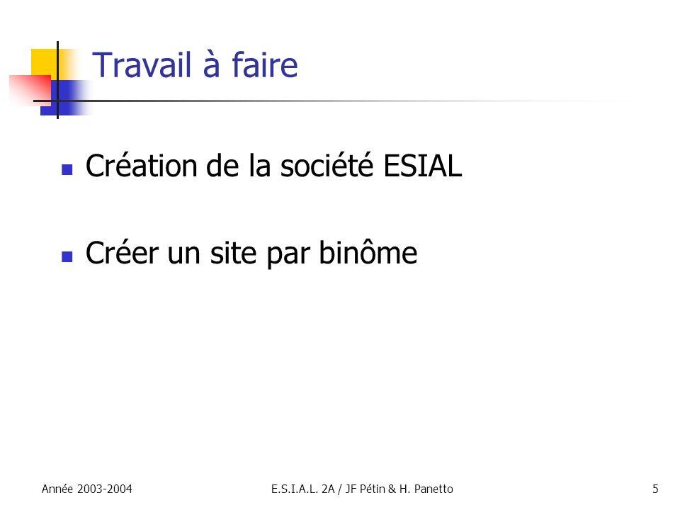 Année 2003-2004E.S.I.A.L. 2A / JF Pétin & H. Panetto5 Travail à faire Création de la société ESIAL Créer un site par binôme